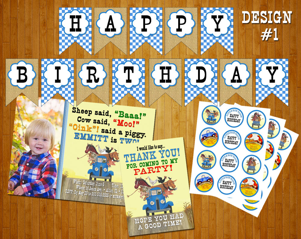 Little blue truck birthday party pack invitation banner cupcake little blue truck birthday party pack invitation banner cupcake toppers 1 of 2free shipping filmwisefo