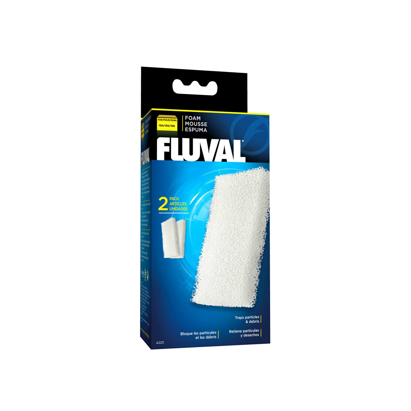 Fluval Foam Filter Block for 104/105/106 External Filters, 2 pieces