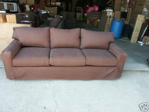 Pottery Barn Pb Basic Grand Square Arm Sofa Slipcover Basketweave Espresso 1 Of 2only Available See More