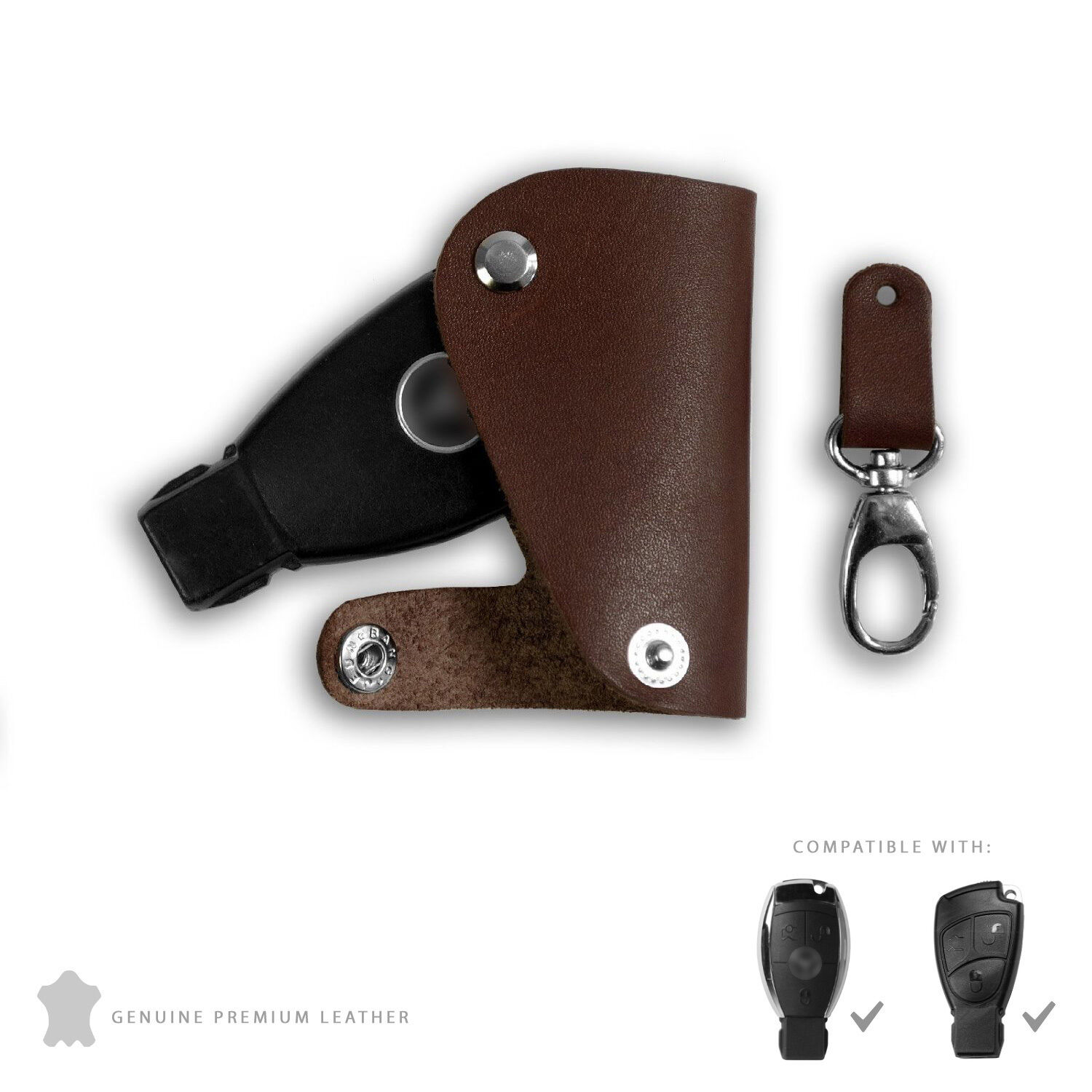Mercedes benz genuine leather keycase brown key fob cover for Mercedes benz amg key fob back cover
