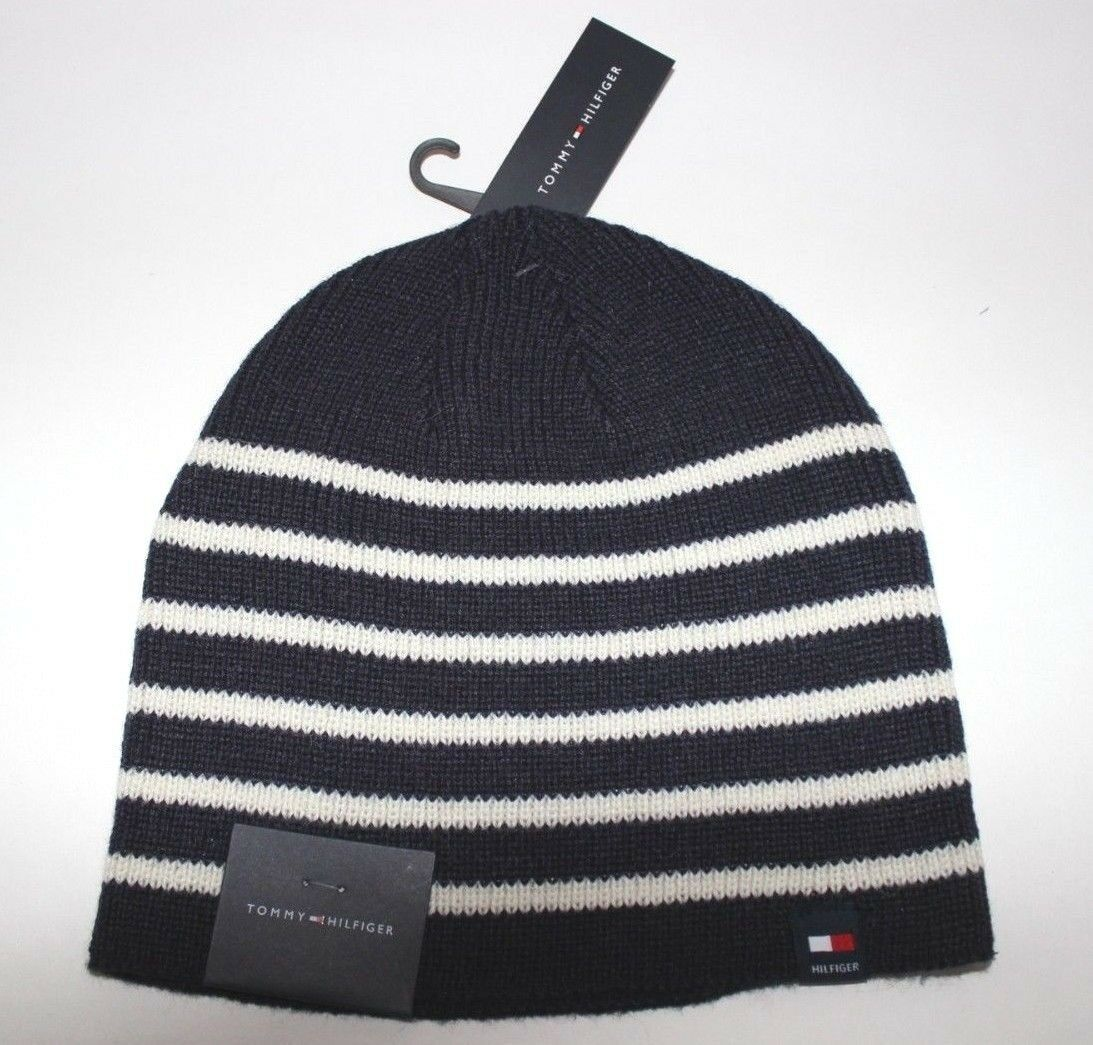 NWT TOMMY HILFIGER One Size Men s Navy   White Striped Knit Winter Skull  Cap Hat •  35.95 2b4d638833a