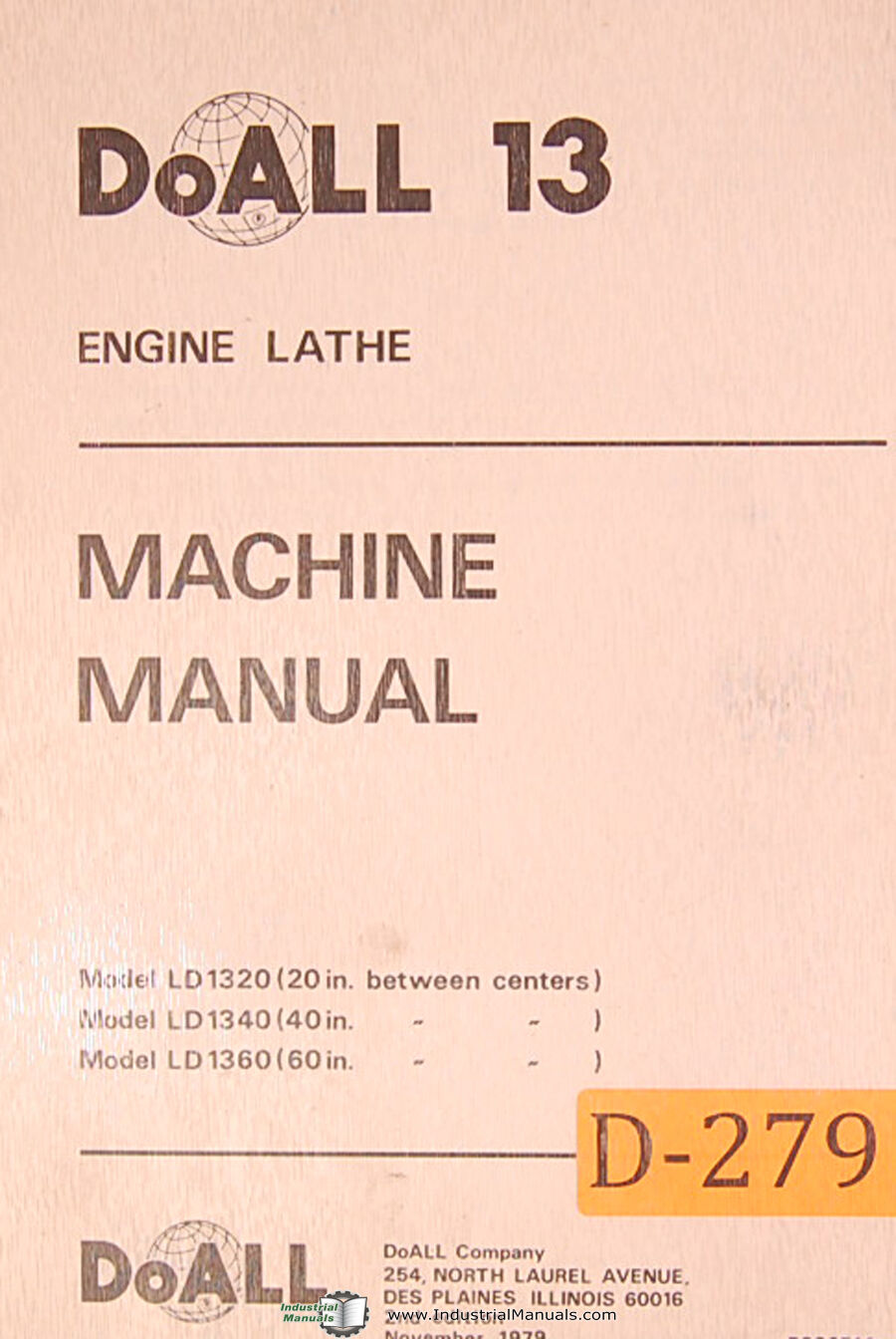 Doall 13 LD 1320, 40 60 Engine Lathe Wiring, Parts and Maintenance Manual  1979 1 of 3FREE Shipping ...