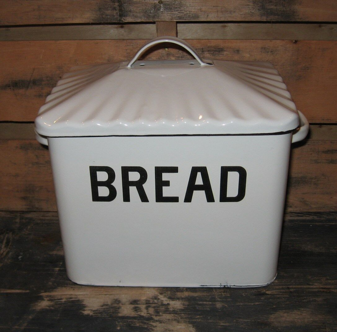 White Enamelware BREAD BOX Primitive French Country