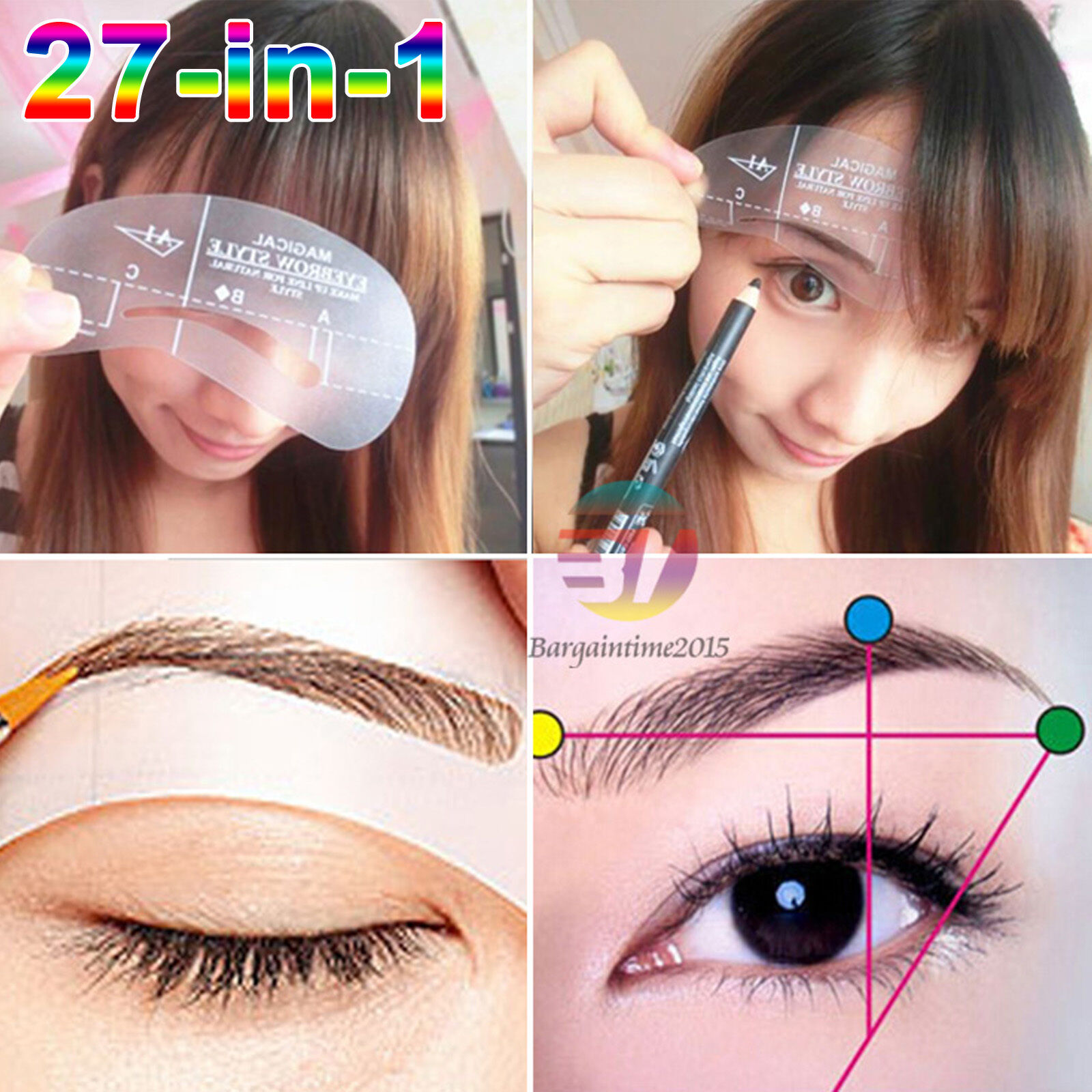 27 Styles Magic Eyebrow Stencil Shaping Template Diy Grooming Shaper