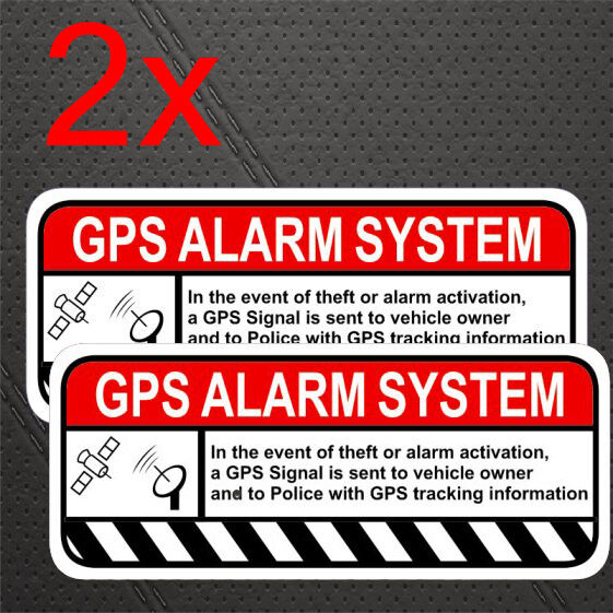 gps tracker car warning alarm immobilizer immobiliser deterrent sitcker decal x2 aud. Black Bedroom Furniture Sets. Home Design Ideas
