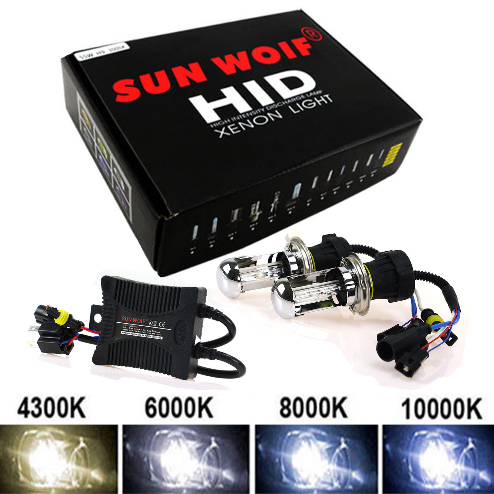 kit de conversion bi x non h4 6000k 55w hid slim ballast ampoules headlight eur 29 99. Black Bedroom Furniture Sets. Home Design Ideas