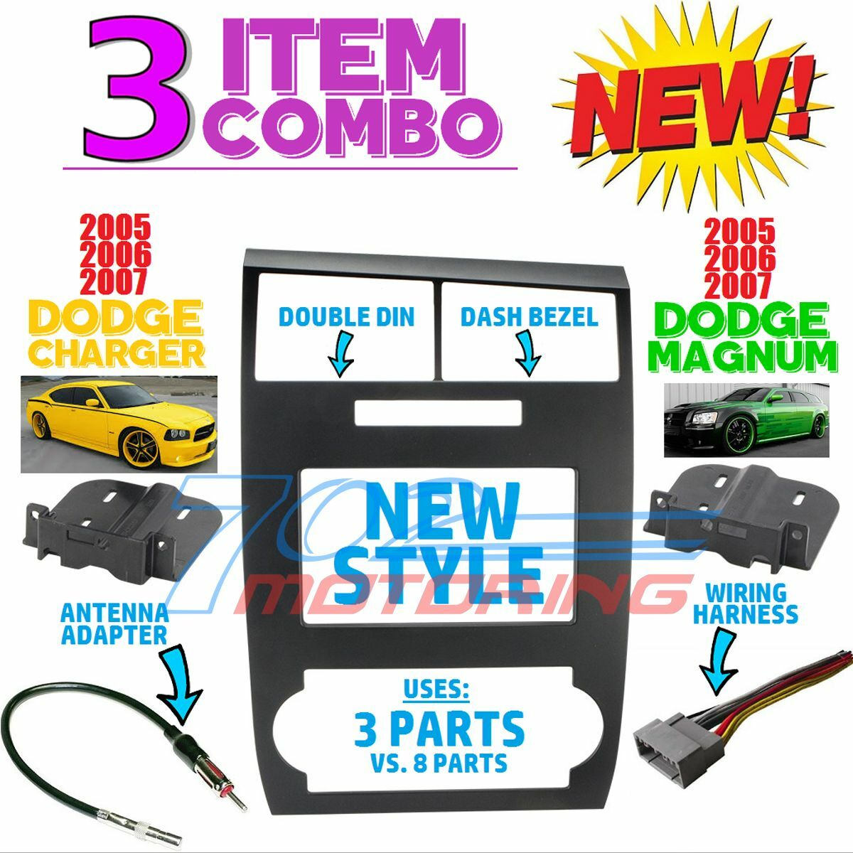 05 06 07 Dodge Charger Magnum Radio Stereo Car Installation Double 2007 Wiring Din Dash Kit