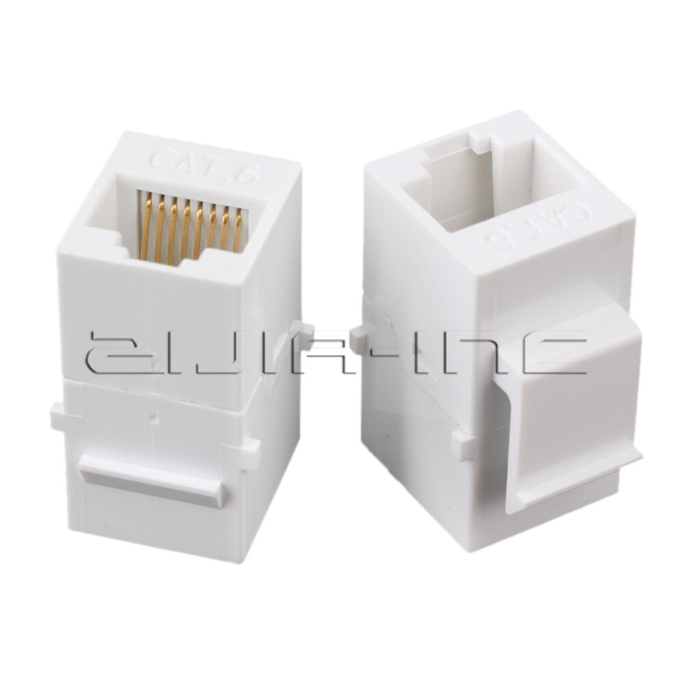 5x Female To Cat6 8p8c Rj45 Utp Keystone Wall Jack Coupler Wiring Plug Adapter 1 Of 3only 5 Available