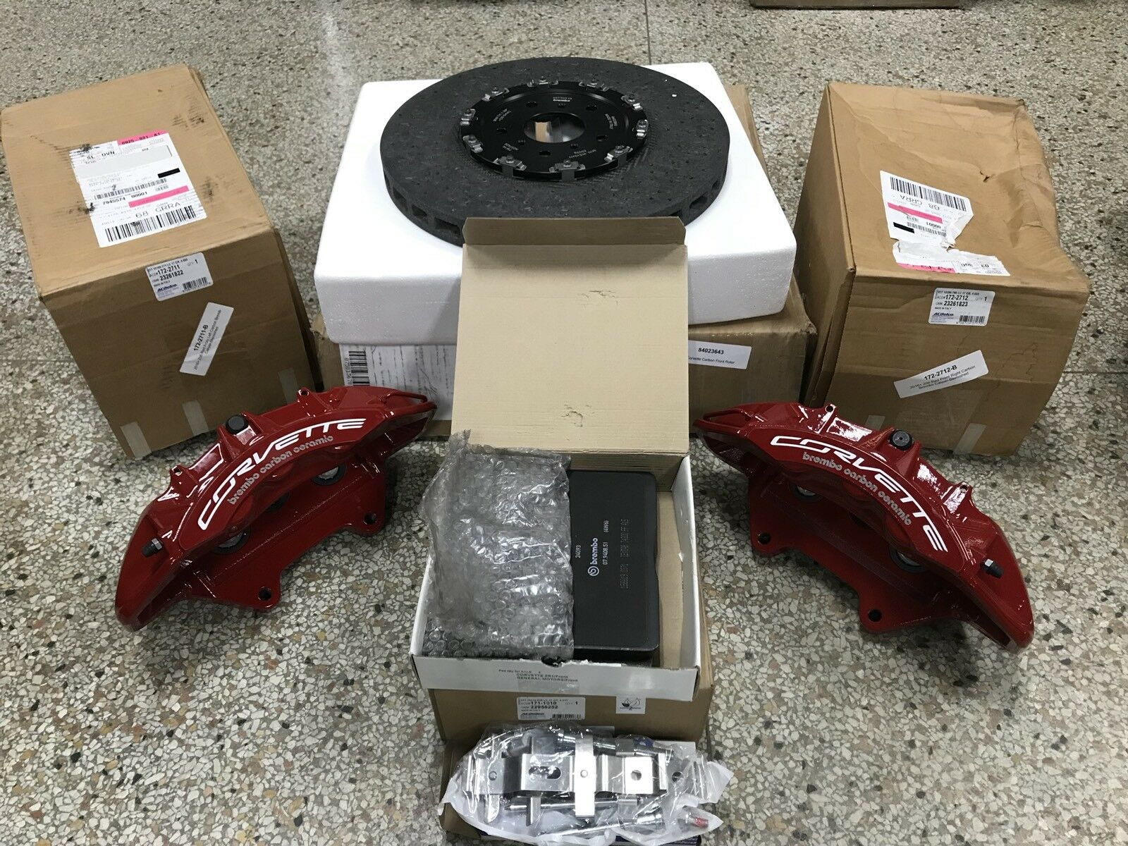 2016 Corvette Z06 Red Brembo Carbon Ceramic Gm Brake Calipers Wilwood Disc Kitfront Stock Replacementhonda262mm Rotors 1 Of 8only Available