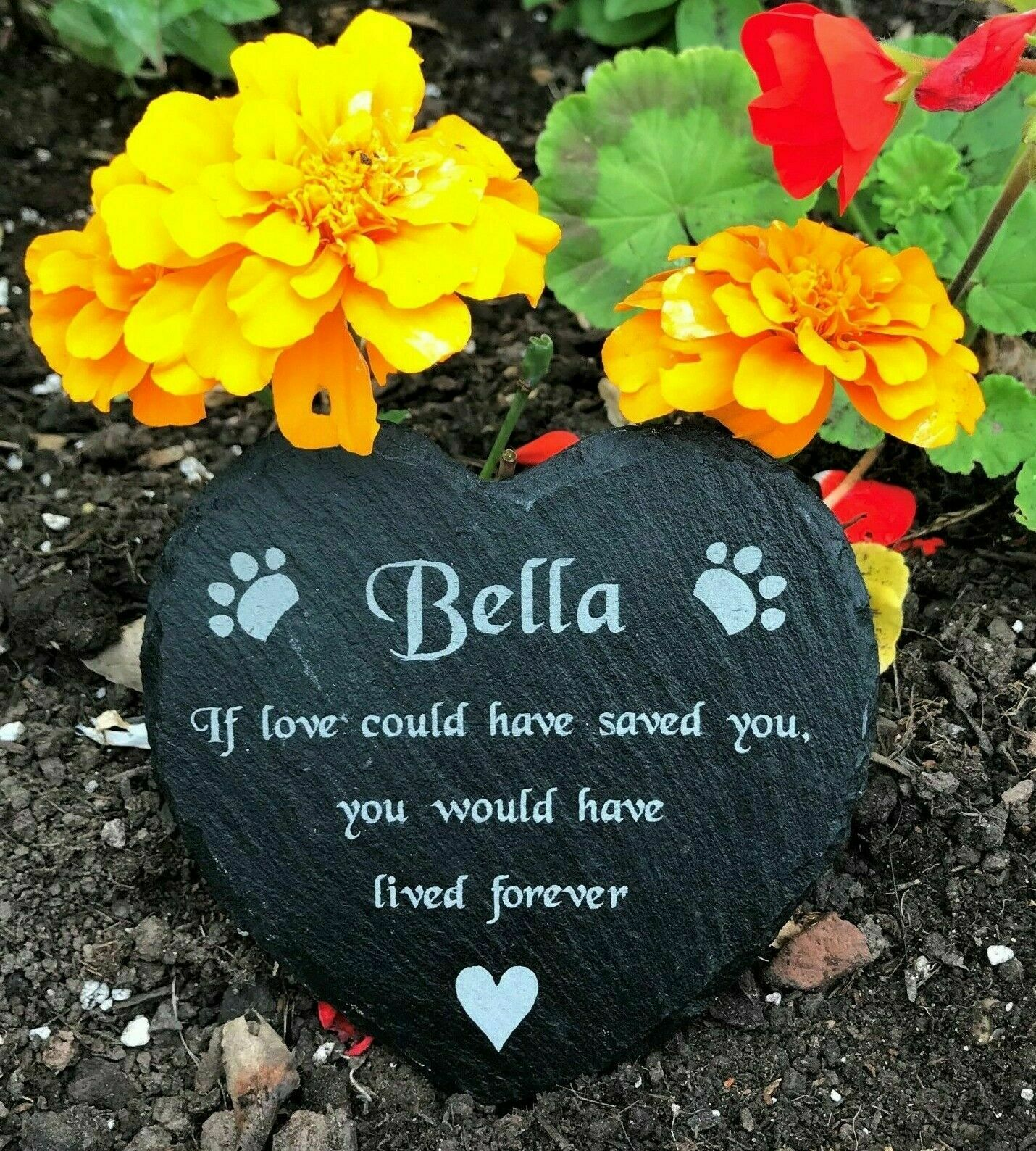 Personalised Engraved Natural Slate Heart Pet Memorial Grave Marker Plaque Dog