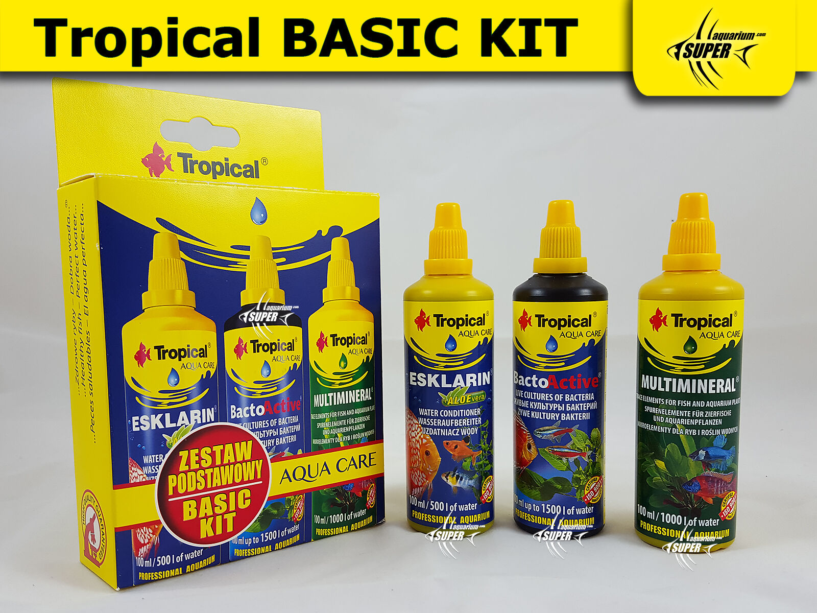 PROFFESIONAL TROPICAL BASIC KIT 3x 100ml Bottle TREATMENT FISH PLANT CONDITIONER