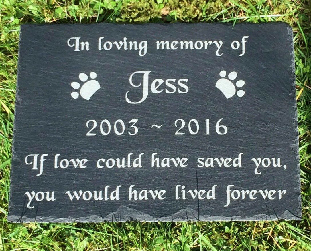 Personalised Engraved Pet Memorial Slate Graver Marker Headstone Plaque Dog Cat