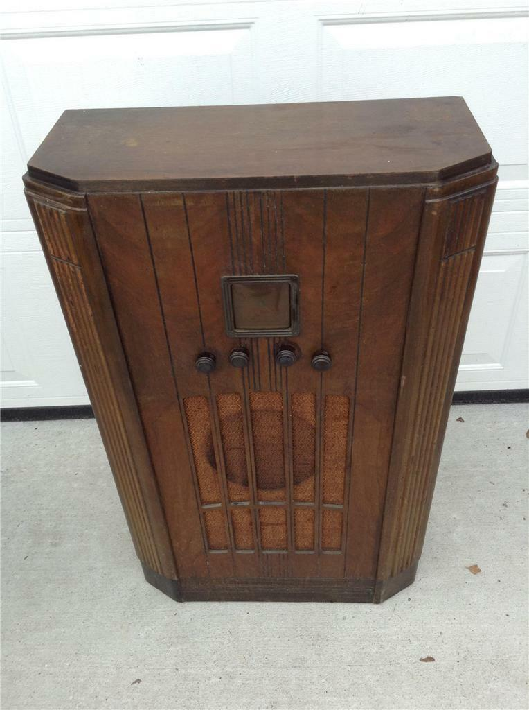 1 of 1Only 1 available ... - ANTIQUE DECO GE Floor Radio Cabinet & Radio Model 55 - $239.99
