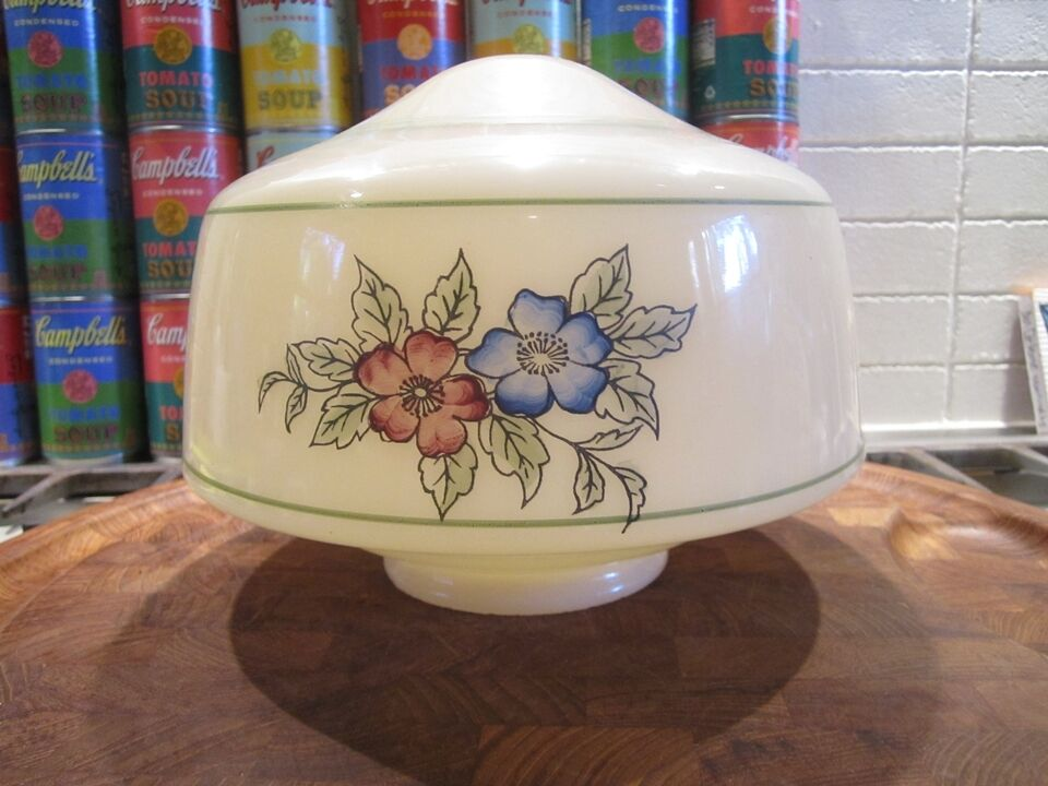 Art deco / depression era hand-painted custard glass ceiling globe / fixture