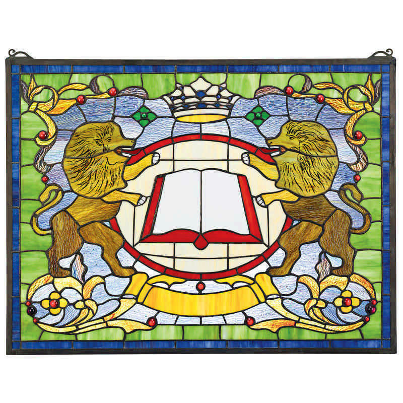 "Antique style 25"" Medieval Coat of Arms Lions Handcrafted Stained Glass Window"