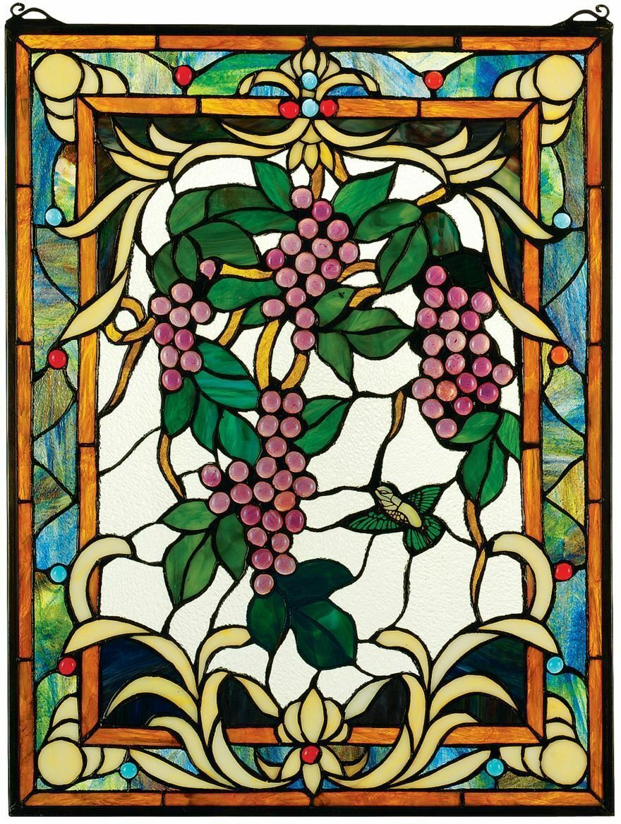"25"" Cabochon Grapes Vineyard Cabochons Hand Crafted Stained Glass Window"