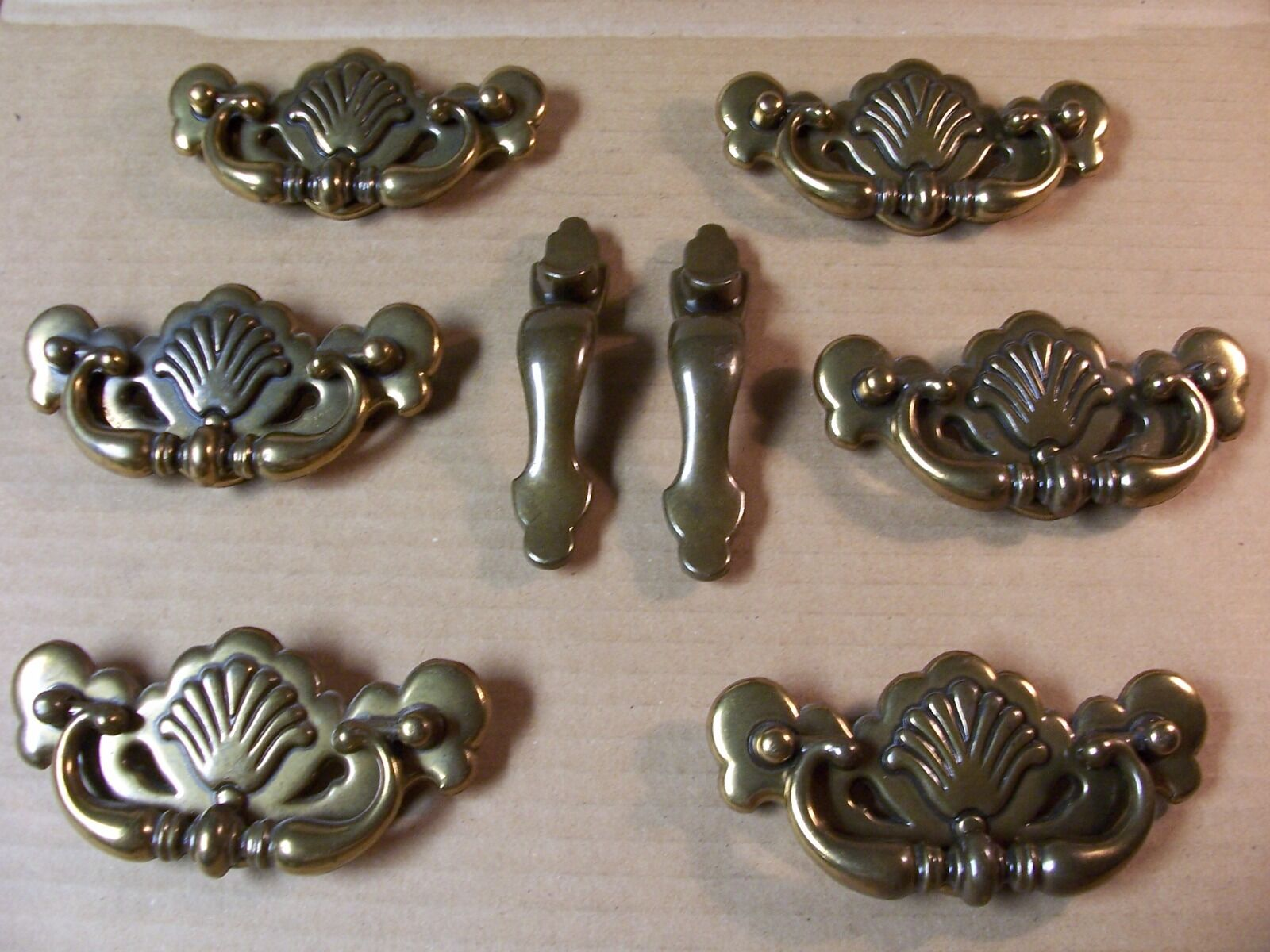 (8) Drawer Pulls / Handles--Brass Finish--Screws Included