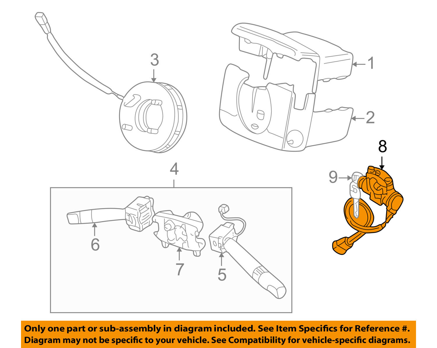 Land Rover Oem 99 01 Discovery Steering Column Ignition Lock Cruise Control Diagram 1 Of 2only Available