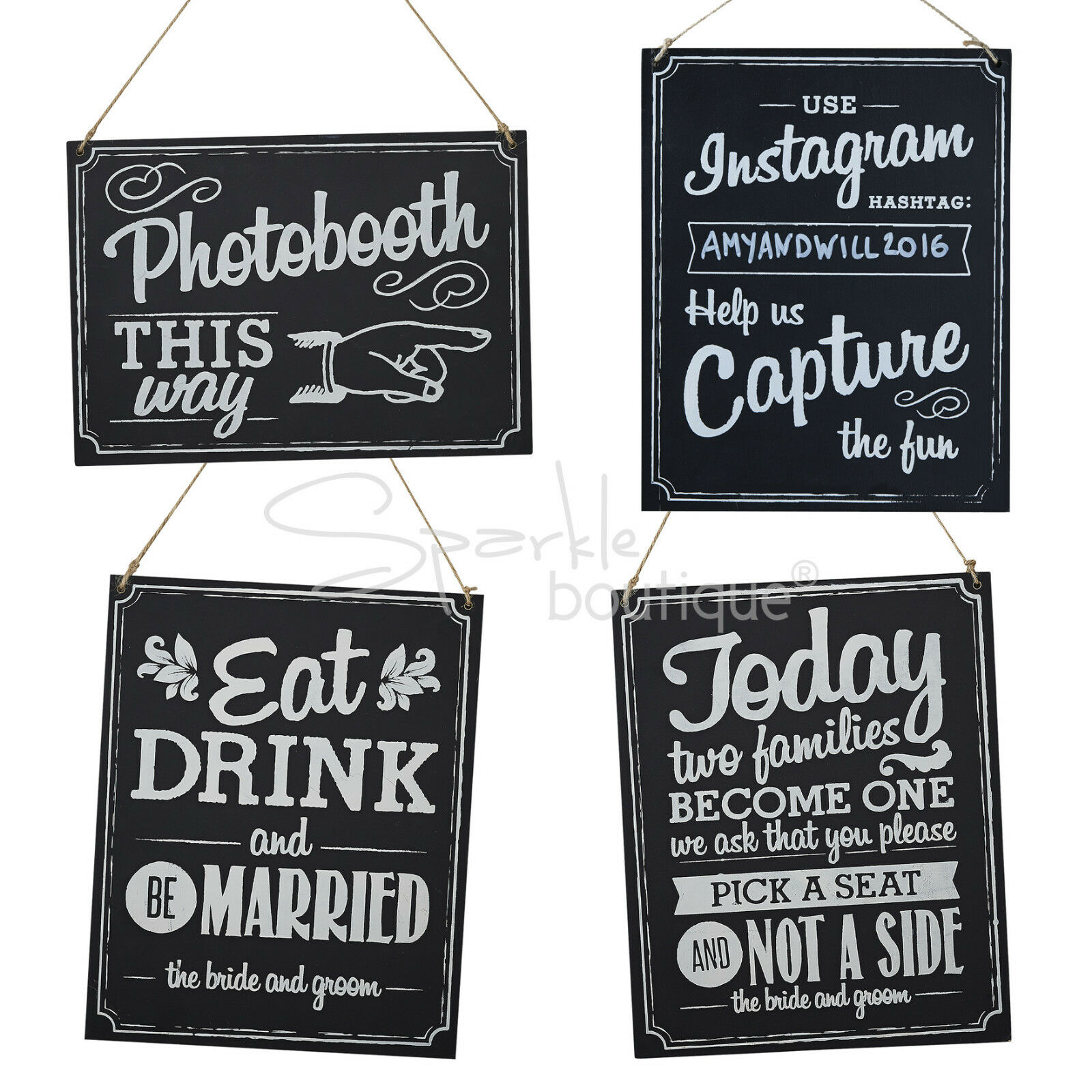 Wooden Wedding Signs Chalkboard Style With Brown String Vintage Rustic 1 Of 2 See More