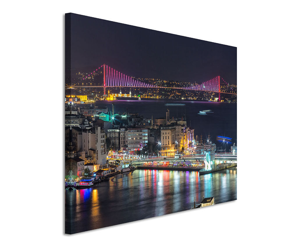 120x80cm leinwandbild auf keilrahmen bosphorus br cke istanbul picclick de. Black Bedroom Furniture Sets. Home Design Ideas