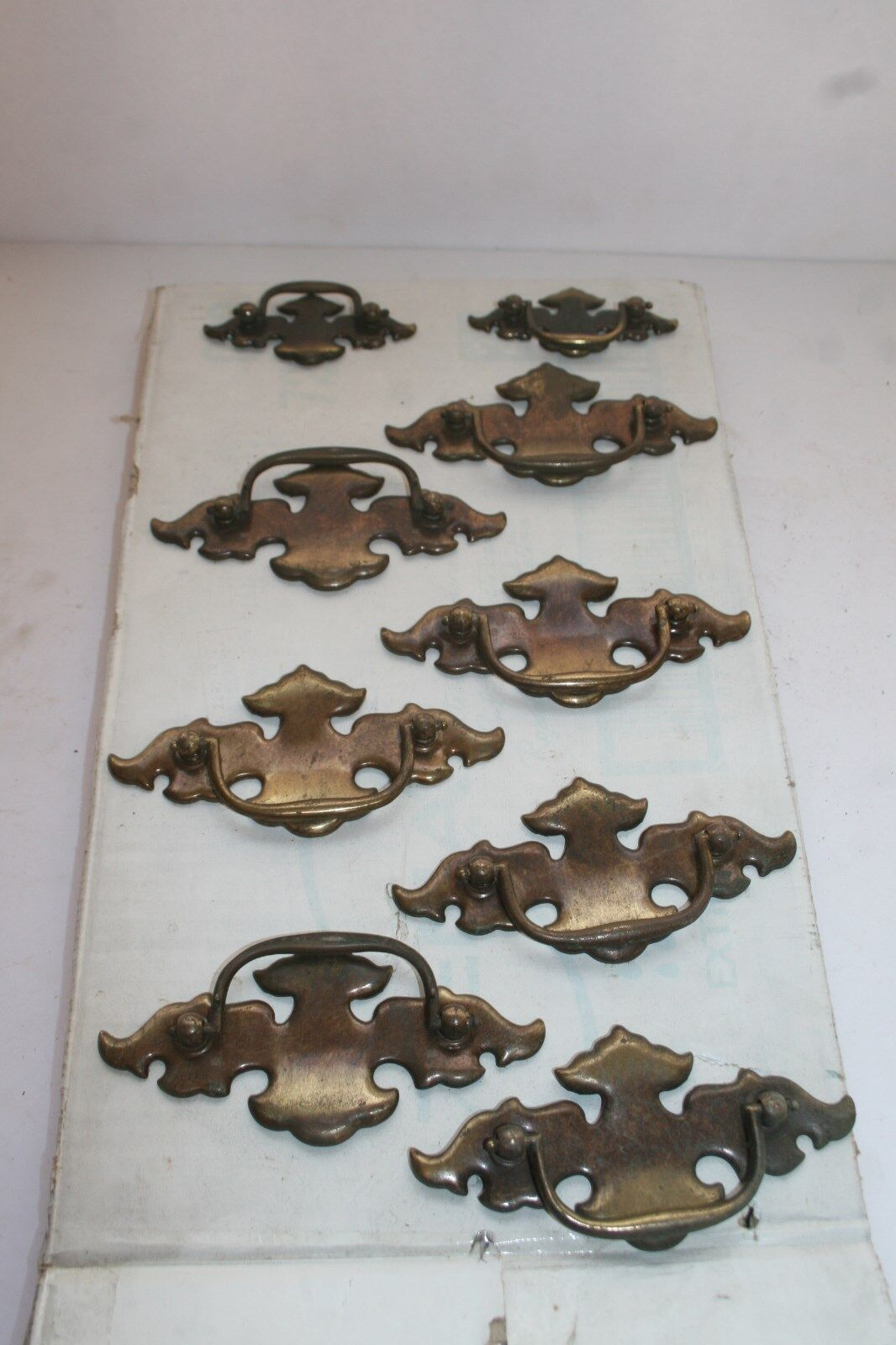 Antique assorted lot 9 vintage furniture drawer pulls mid century modern brass
