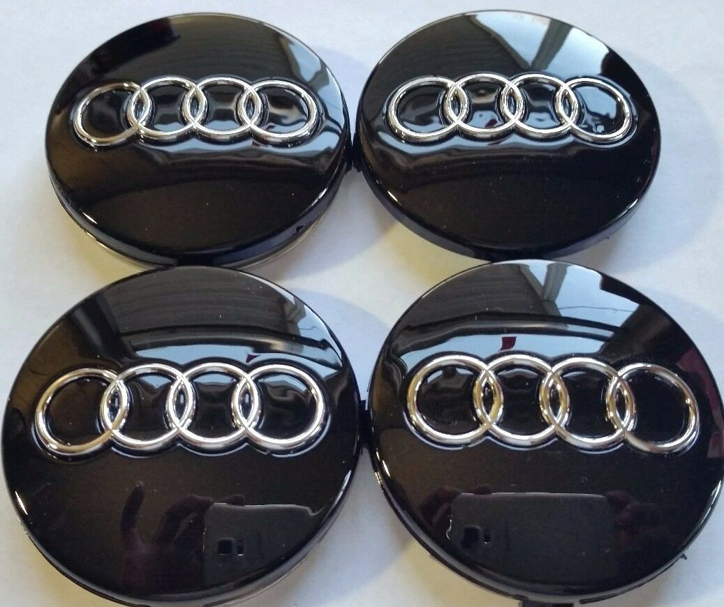 AUDI WHEEL Center Cap Black Chrome Logo MM Fit A A A A - Audi wheel center caps