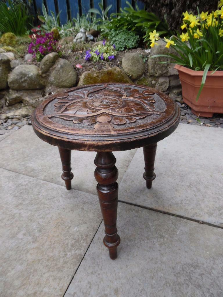 Small Antique Arts and Crafts carved wooden milking stool leather inlaid top