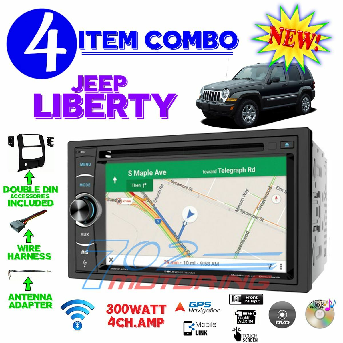 02 03 04 05 06 07 Jeep Liberty Navigation Dvd Radio Stereo Dash Kit Accessories Double Din