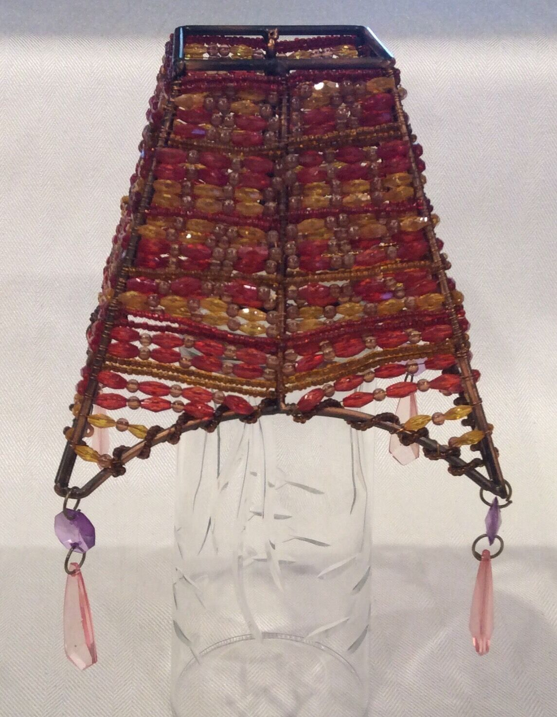 """Gorgeous Unusual Vintage Square ART DECO Beaded Copper Wire 4 7/8""""  Shade"""