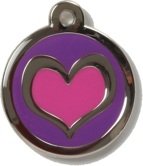 Bow Wow Pet Tag Dog Cat ID Laser Engraved - Pink Heart