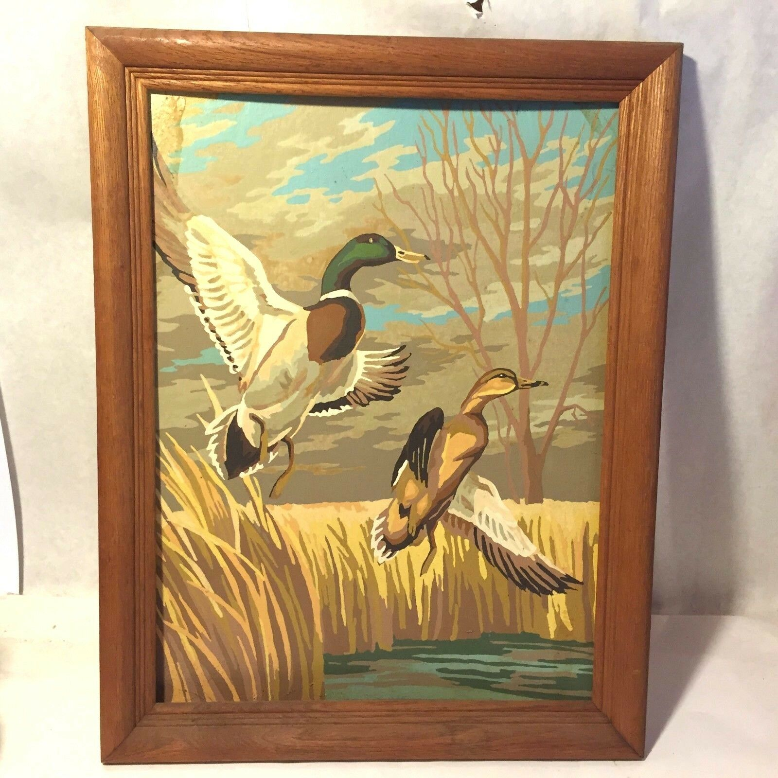 VTG FRAMED PBN Oil Painting Pair Flying Mallard Ducks Trees Hunting ...