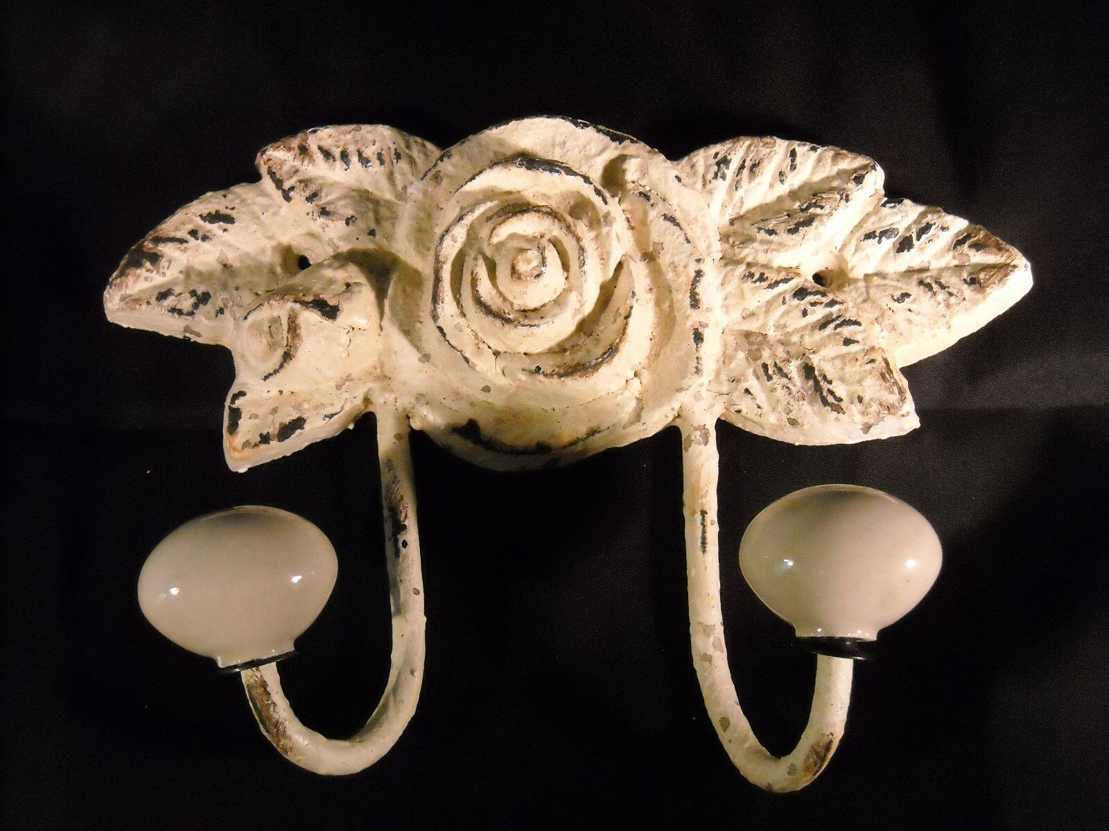 French Country Shabby Chic Vintage Iron Double Hook in Distressed White