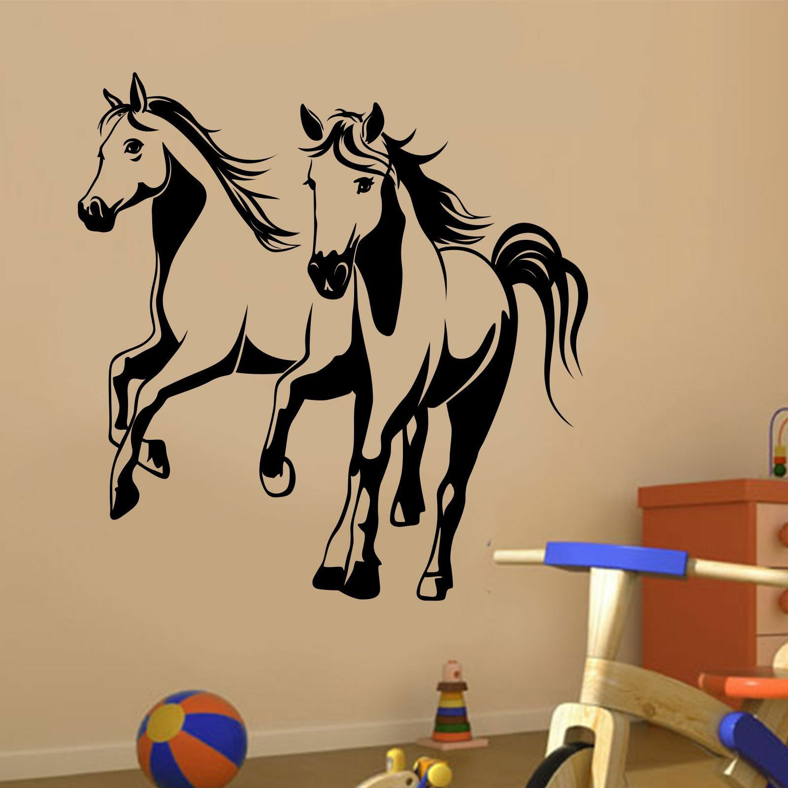 pferde gallopierend wandtattoo aufkleber kinderzimmer. Black Bedroom Furniture Sets. Home Design Ideas