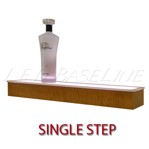 36 1 Tier LED Lighted Liquor Display Shelf Oak Finish