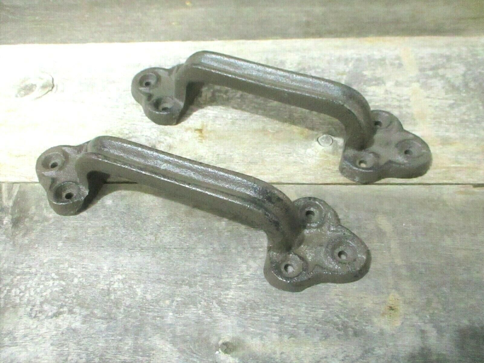 2 Large Rustic Cast Iron Barn Handle Gate Pull Shed Door Handles Brown Old Look