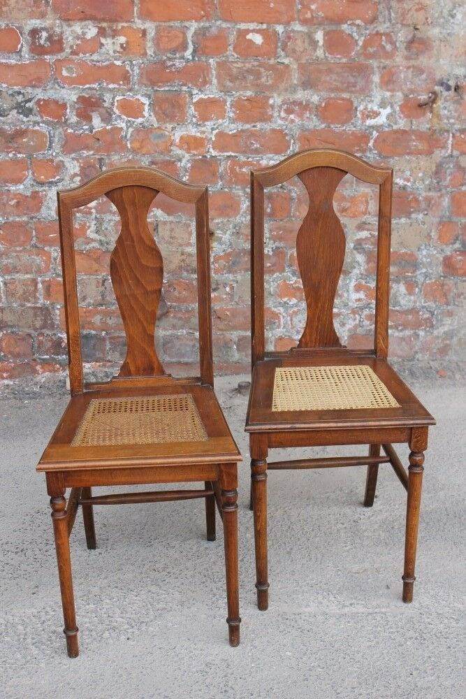Pair Of Mid-Century Rattan-Seated Bedroom Chairs - Two Occasional Side Chairs