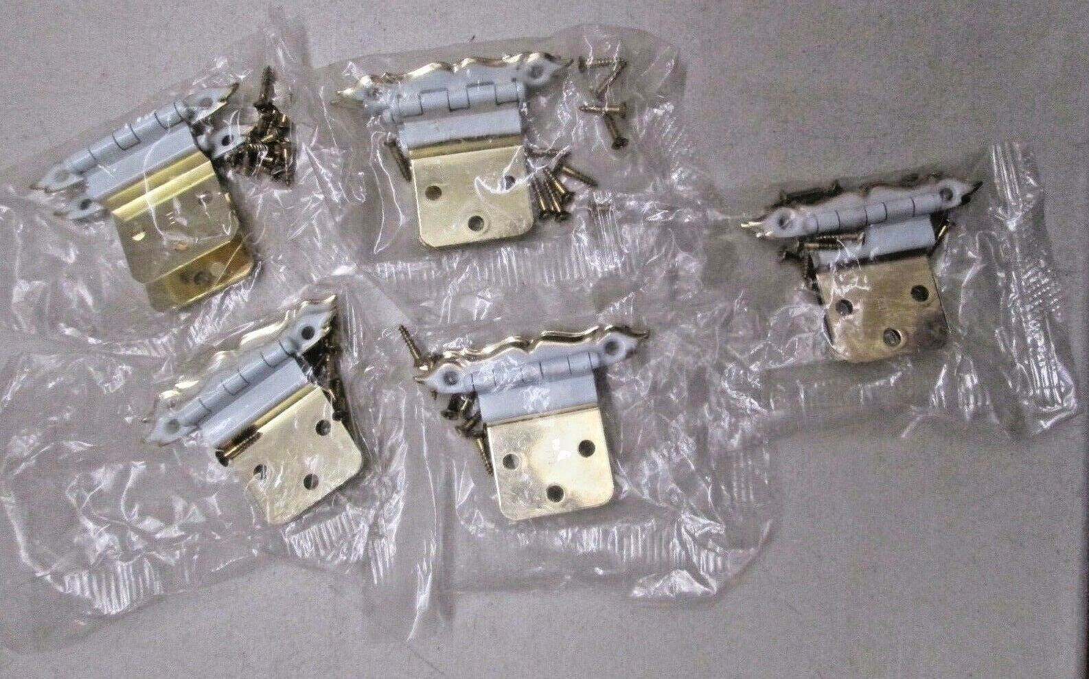 "NOS Vintage Lot of 10 Cabinet Hinges White & Gold 5 Packages 3 1/8"" x 1/2"" New"