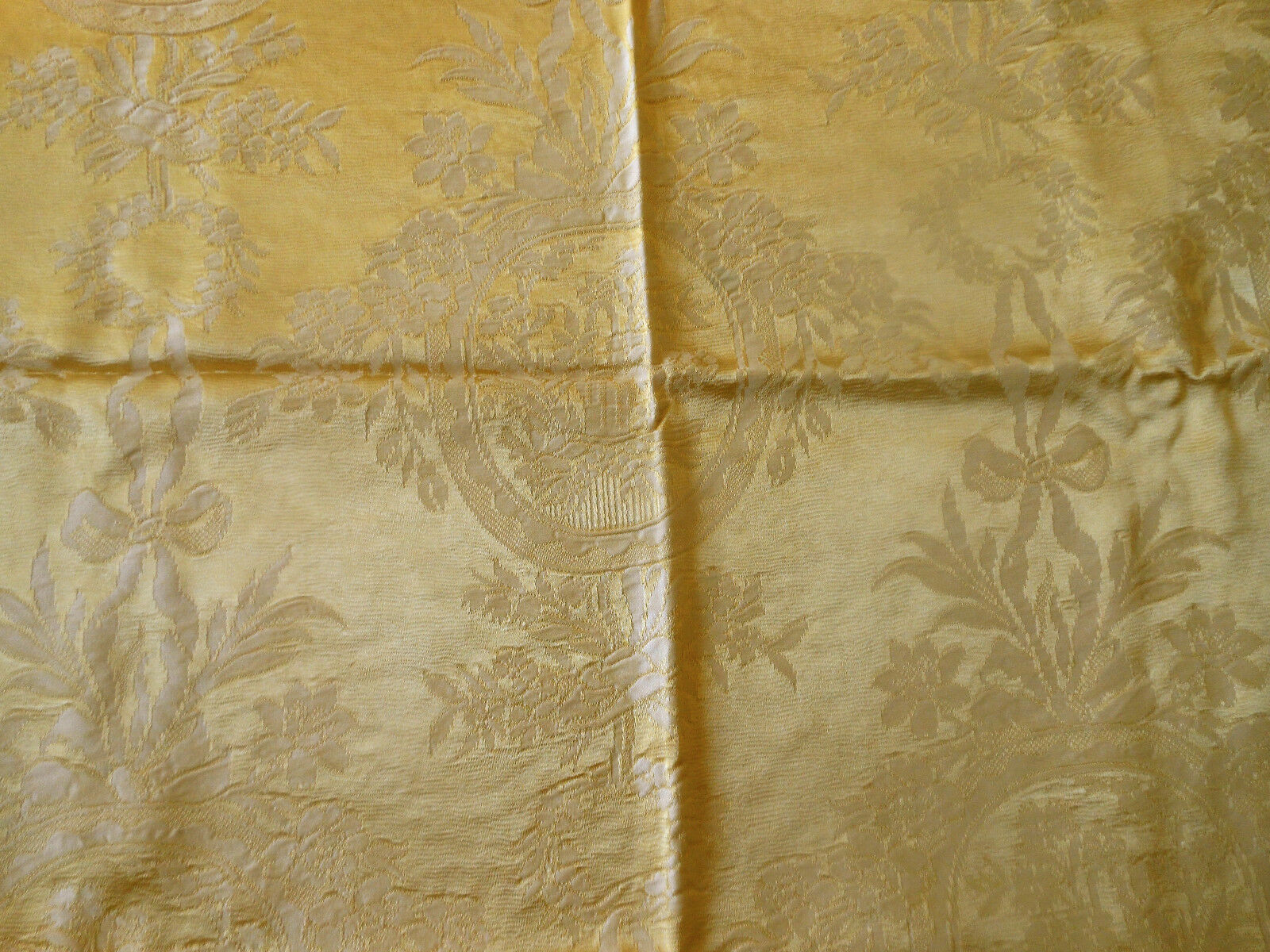 Vintage French Floral Ribbon Garland Satin Damask Fabric