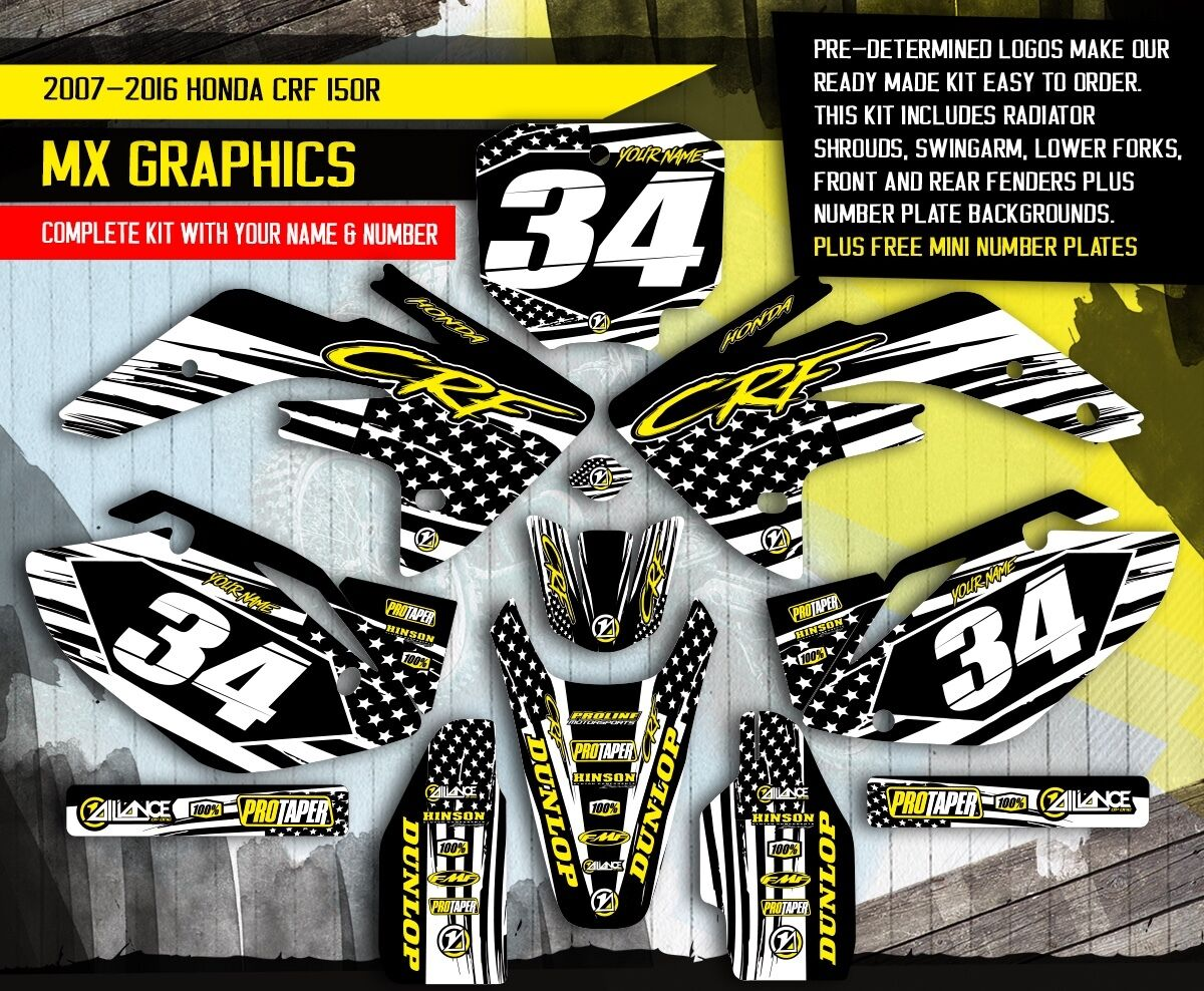 2007 2015 Honda Crf 150r Dirt Bike Graphics Kit Motocross Mx 150 Bikes Decals 1 Of 1free Shipping See More