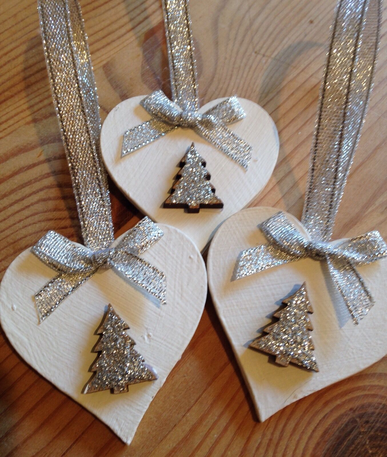 3 X Handmade Christmas Decorations Shabby Chic Wood Heart