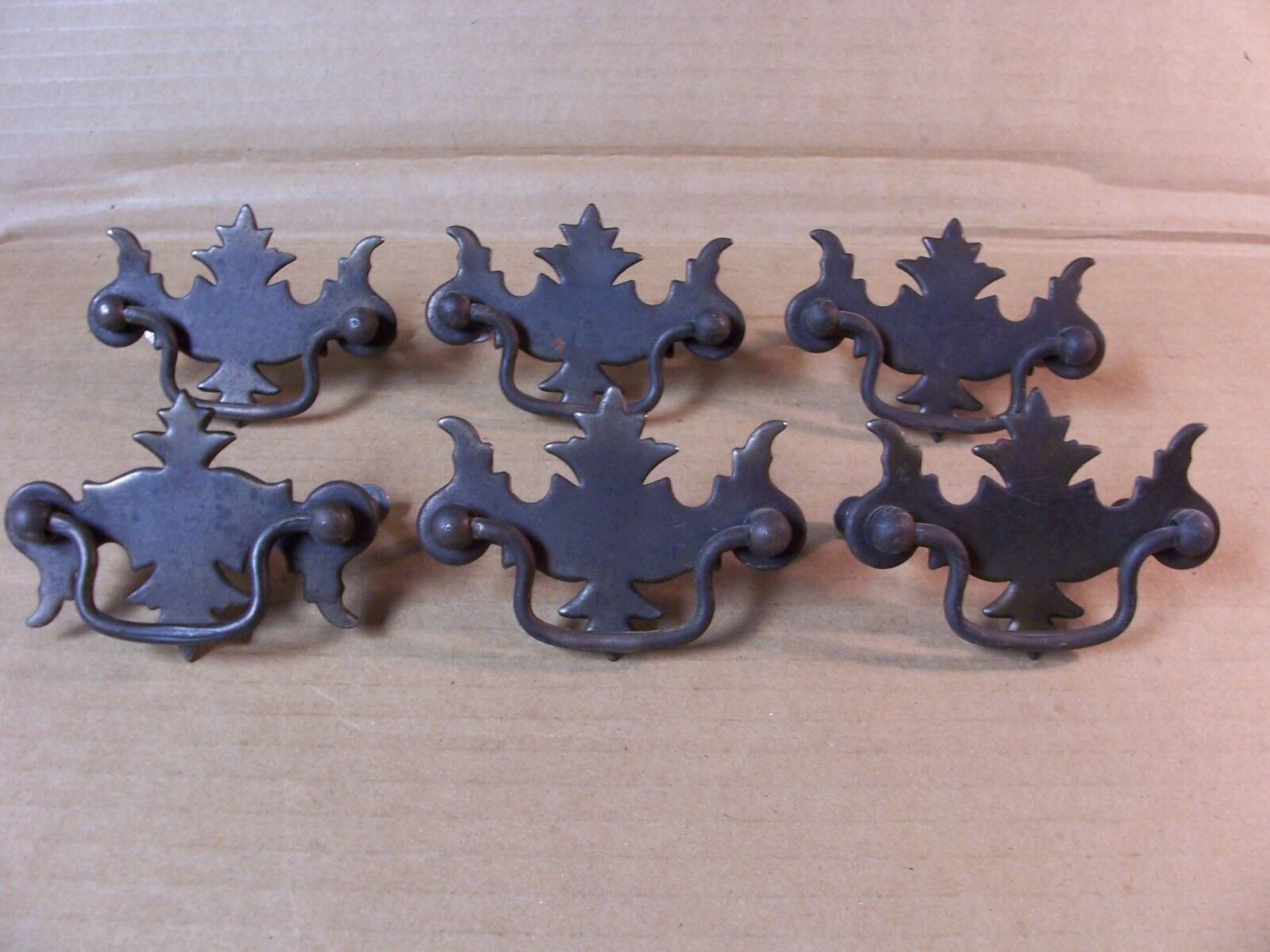(6) Antique Drawer Pulls / Handles -- Screws Included