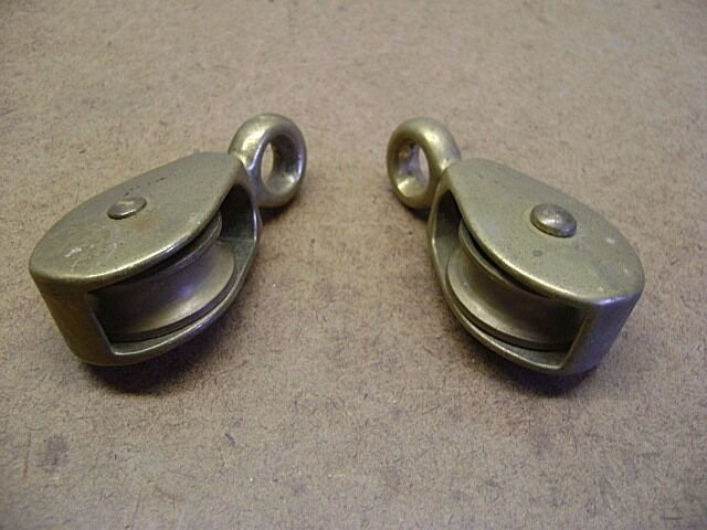 "Old Tools Vtg Pair of Small BRASS PULLEYS 2 3/4"" Long Fixed Eye Nautical Pulleys"