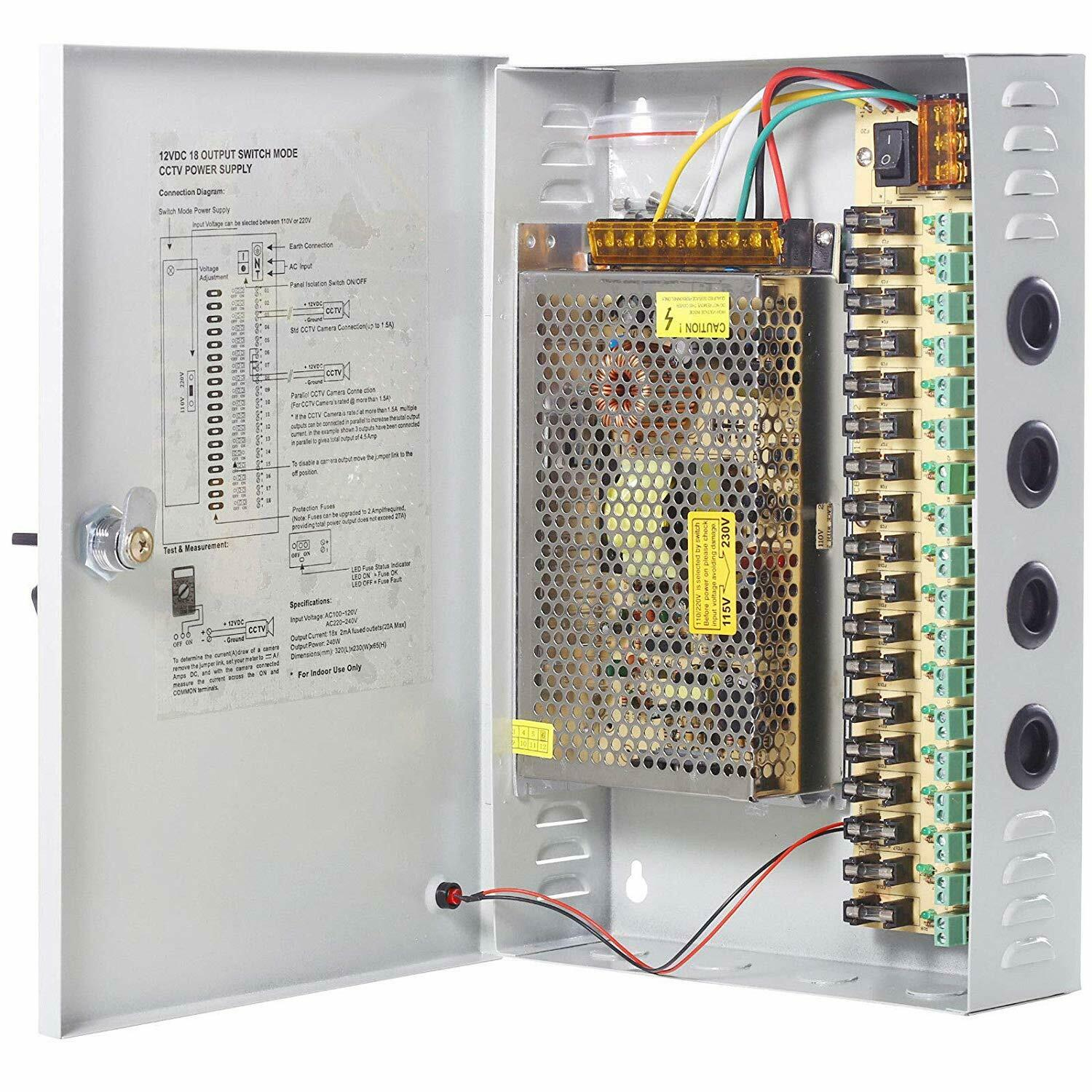 18ch Channel Power Supply Box Ptc Fuse Cctv Camera Distribution Switch 1 Of 1free Shipping