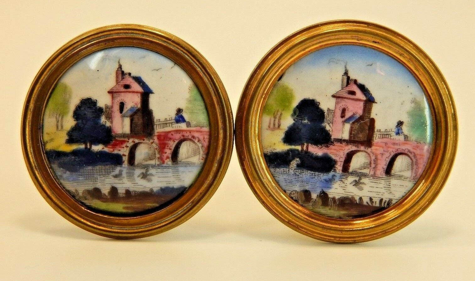 Bilston and Battersea HAND PAINTED ENAMEL Antique Curtain Tie Backs - SET OF TWO