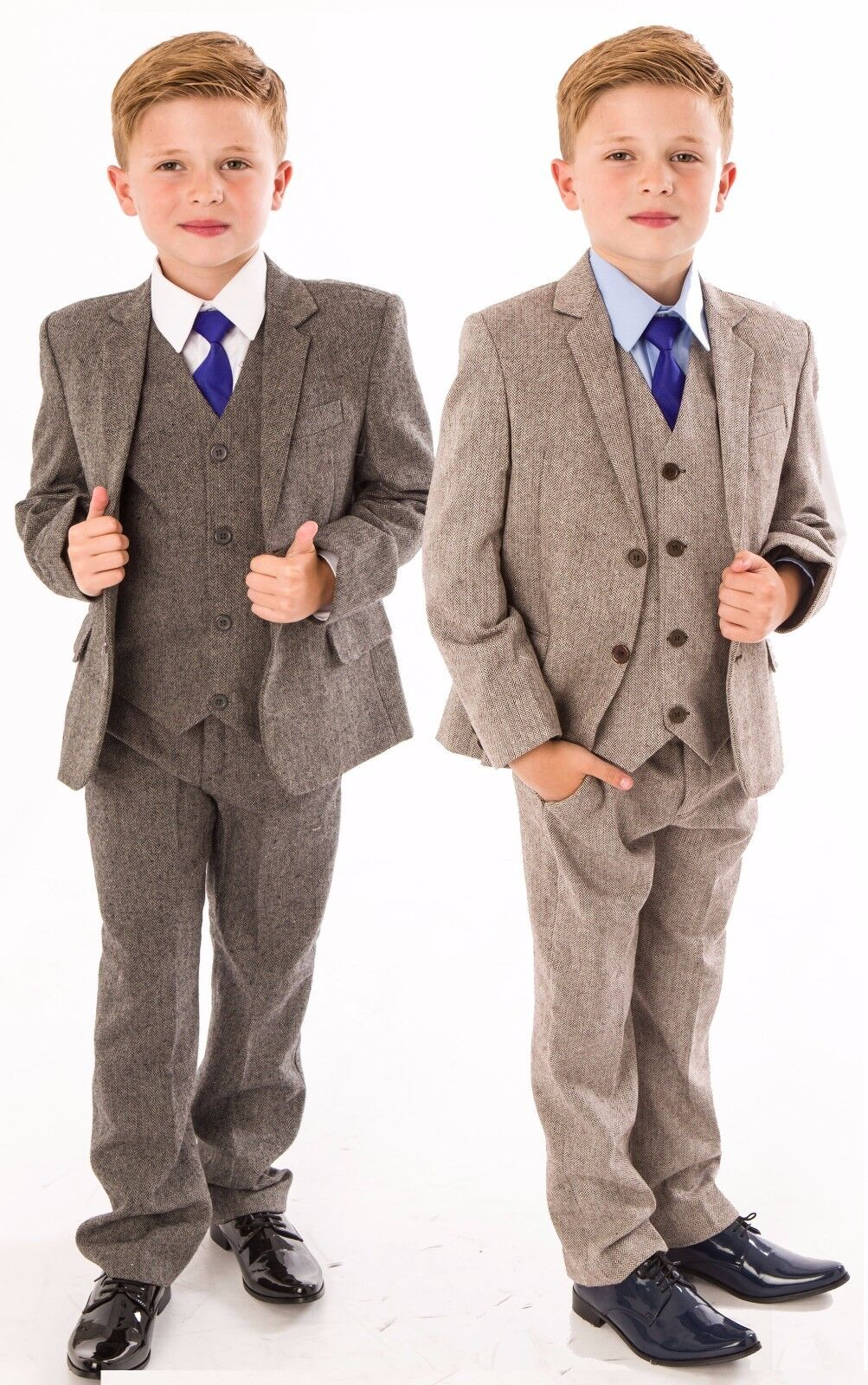 BOYS SUITS Boys Wedding Suit 5pc Tweed Waistcoat Suit Page Boy ...