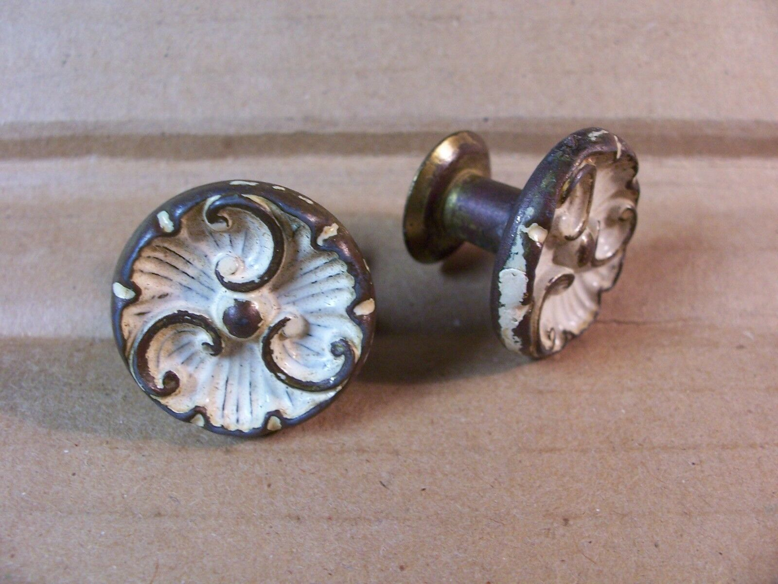 (2) Antique / Vintage French Provincial Drawer Pulls / Knos - Original Screws In