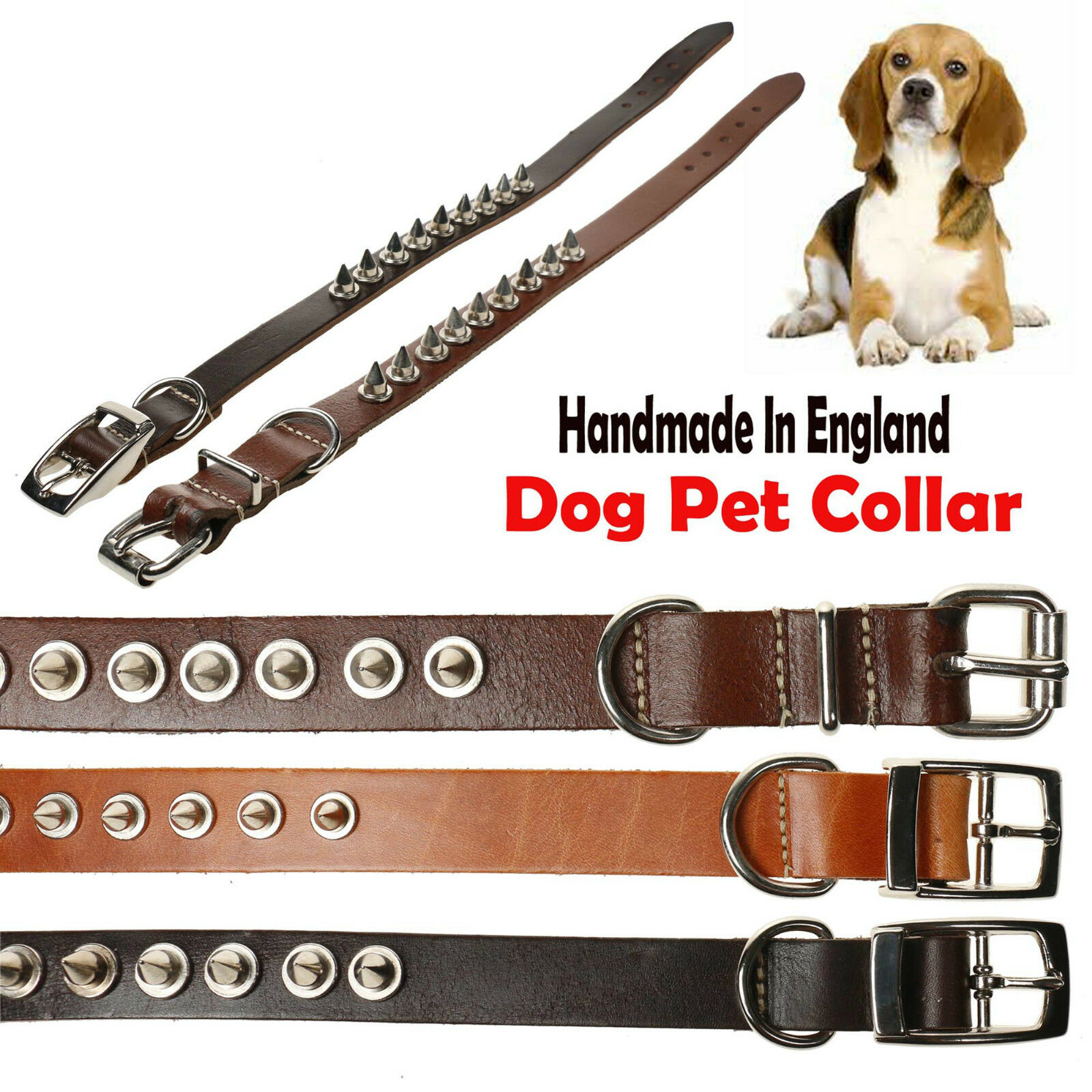 Metal Spike Studded Leather Extra Strong Heavy Duty Dog Cat Adjustable Collar