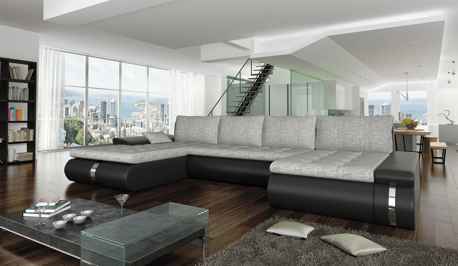 couchgarnitur sofa garnitur schlafsofa fado lux mit schlaffunktion u form sofa eur 999 90. Black Bedroom Furniture Sets. Home Design Ideas