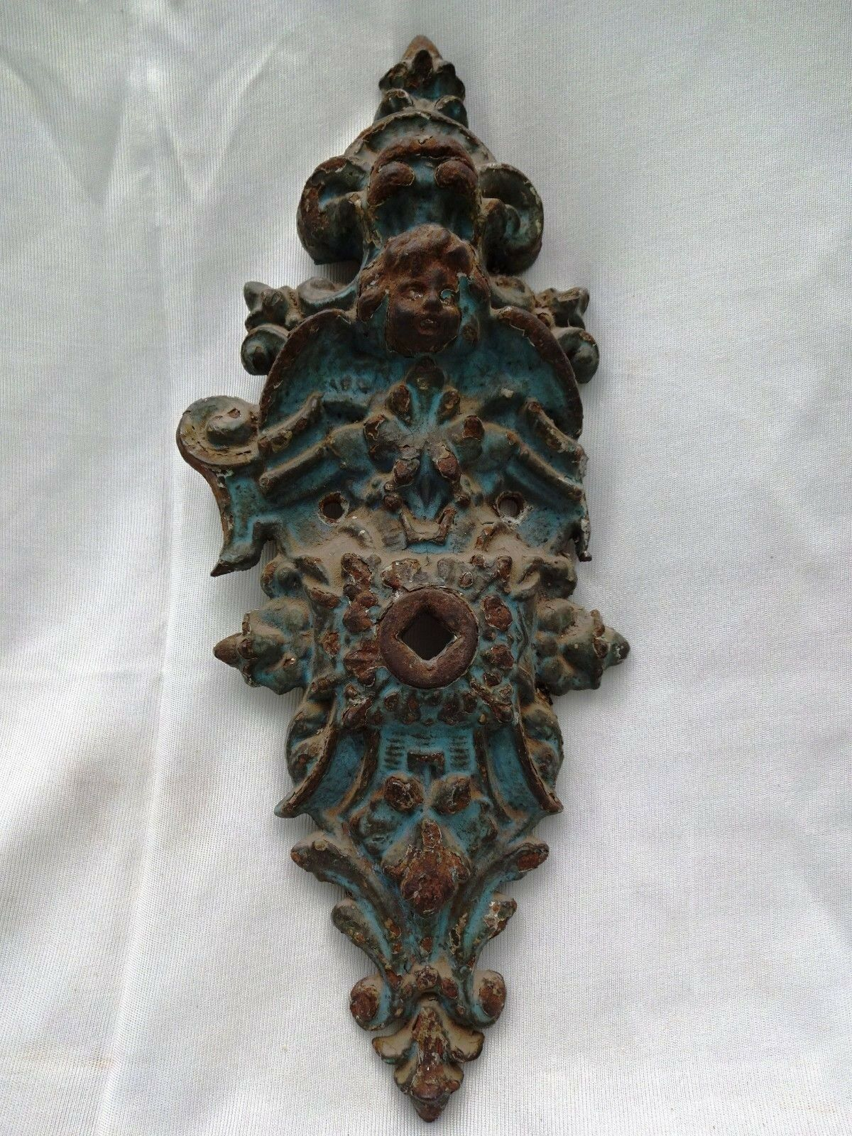 285 Antique French  Cast Metal Ornate Wall Bracket Back Plate ~ Mask-Scroll Rare