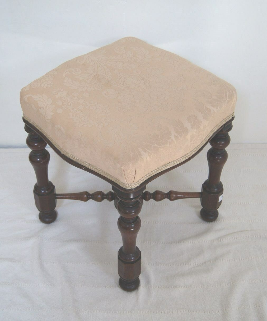 Smart, Antique Victorian Wooden Square Foot Stool with Cream Upholstered Seat
